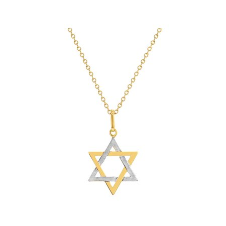 18k Gold Plated Star Of David Jewish Two Tone Necklace Religious Pendant 19