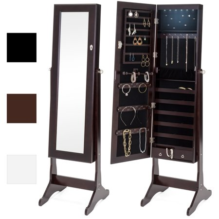 Best Choice Products 6-Tier Full Length Standing Mirrored Lockable Jewelry Storage Organizer Cabinet Armoire w/ 6 LED Interior Lights, 3 Angle Adjustments, Velvet Lining - (Cherry Finish Jewelry Armoire)