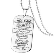 KABOER My Son Tag Dog Collar Stainless Steel Mother son Pendant Necklace Nameplated Necklace Dog Tag To my son gifts