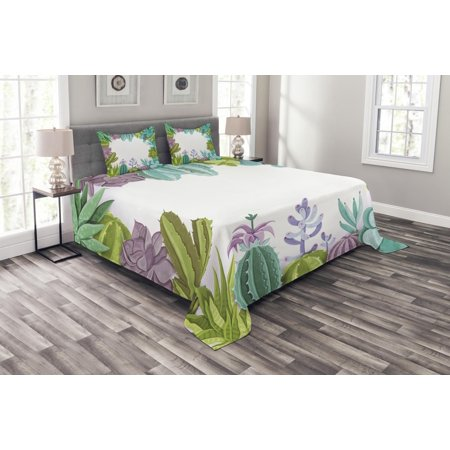 - Cactus Bedspread Set, Succulents Framework Different Types Gardening Bedding Plants Theme Seasonal Image, Decorative Quilted Coverlet Set with Pillow Shams Included, Multicolor, by Ambesonne