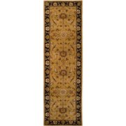 Hand-tufted Camelot Gold Floral Wool Rug (2'6 x 8')