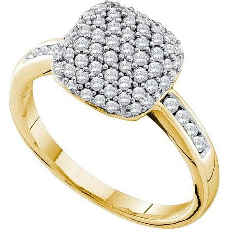 14K Yellow Gold 0.51ctw Glamorous Pave Diamond Bubble Cushion Fashion -