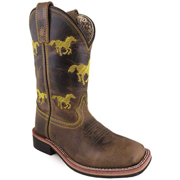 Smoky Mountain Kid's Rancher Brown Oil Leather Cowboy Boots 3882