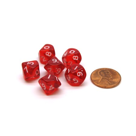 Translucent 10mm Mini 10-Sided D10 Chessex Dice, 6 Pieces - Red with White (Transparent Red Dice)