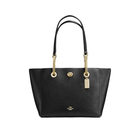 Pebble Leather Tote (Pebble Leather Turnlock Chain Tote )