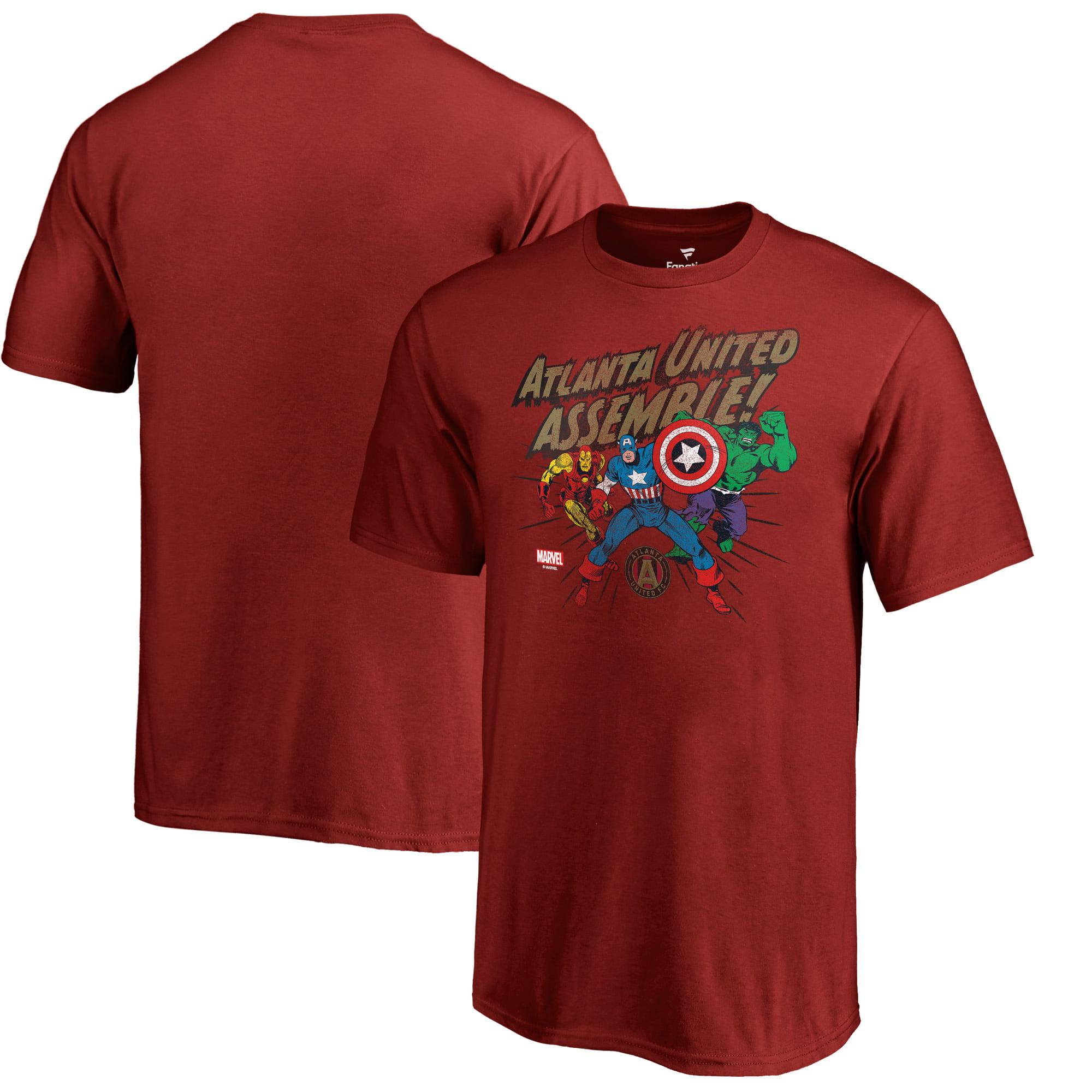 Atlanta United FC Fanatics Branded Youth Marvel Avengers Assemble T-Shirt - Cardinal