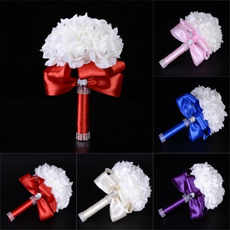 Wedding Flower Bouquet Crystal Pearl Sequin Bridal Bridesmaid Rose Foam Floral Wedding Crystal Pearl