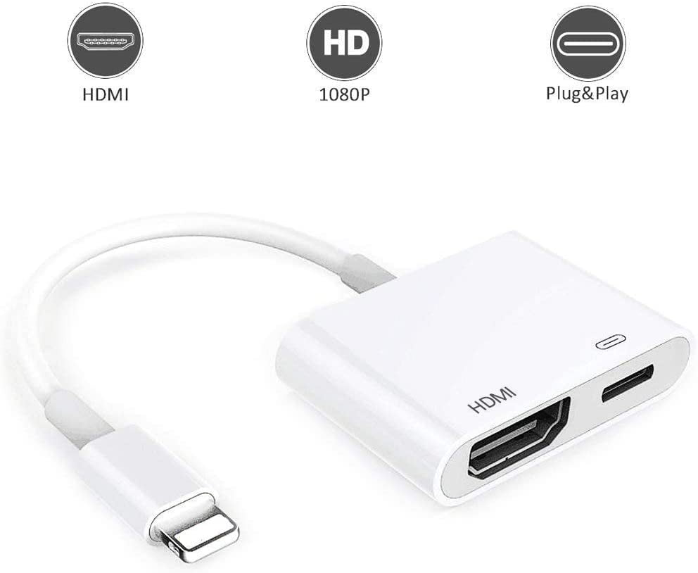 Lightning to HDMI for iPhone, 1080P Lighting to HDMI ...