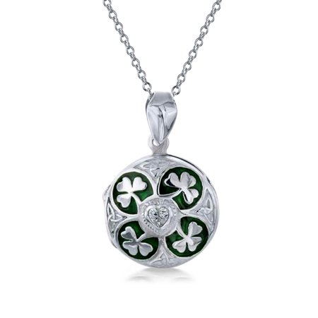 Lucky Green Enamel Shamrock Clover Round Celtic Irish Two Photo Round Locket For Women That Hold Pictures Necklace Lucky Designer Necklace