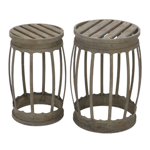 Set of 2 Barrel Shaped Metal Stool with Antique Green Finish Accent D��cor 52937
