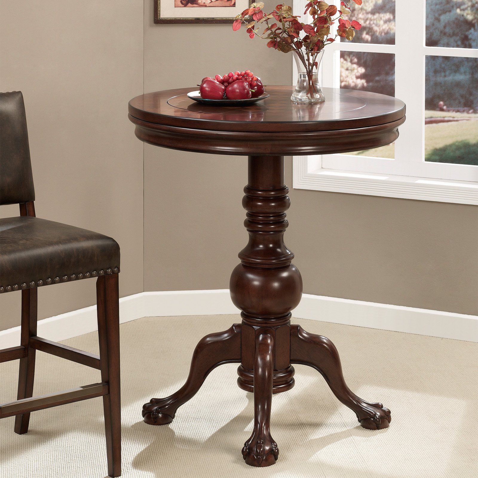 AHB Ravello Pub Table with Reversible Game Top - Cherry