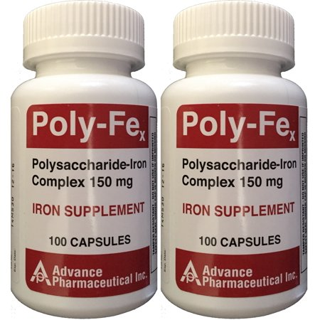 Polysaccharide Fer Complex 150 mg Capsules Supplément de fer 100 capsules par bouteille de 2 PACK