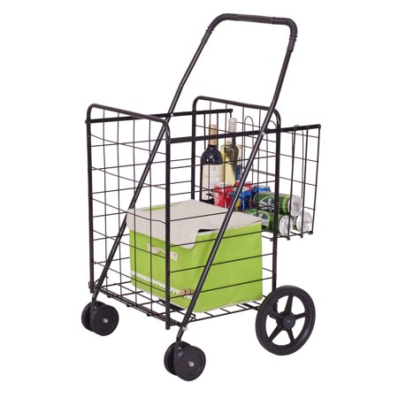 Costway Folding Shopping Cart Jumbo Basket with Swivel Wheels (Jumbo Linen Cart)