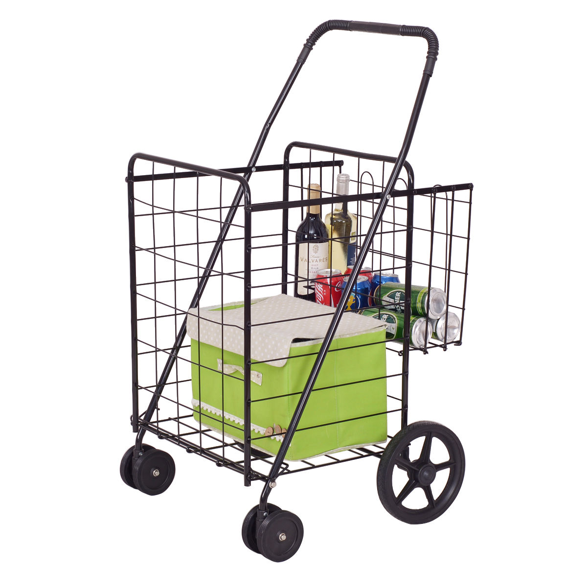Costway Folding Shopping Cart Jumbo Basket with Swivel Wheels