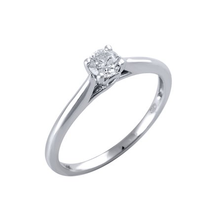 647f0a7be724a 14 Karat White Gold 1/3 Carat Solitaire Diamond Engagement Ring