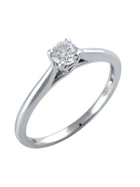 14 Karat White Gold 1/3 Carat Solitaire Diamond Engagement Ring
