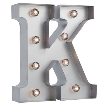 Fantado Silver Marquee Light Letter 'K' LED Metal Sign (8 Inch, Battery Operated w/ Timer) by (Led Lighted Signs)