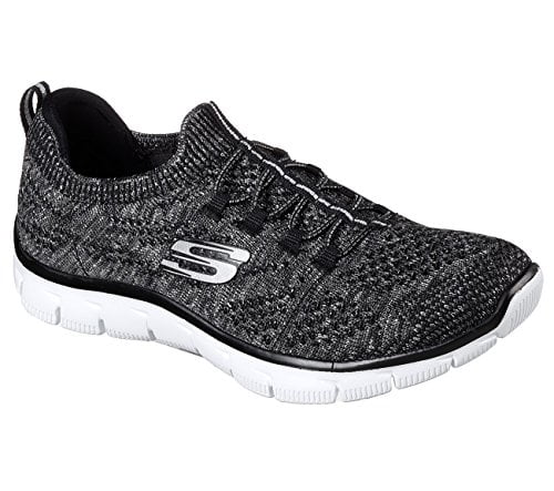 Skechers Empire Womens Slip On Sneakers Black/Silver 10