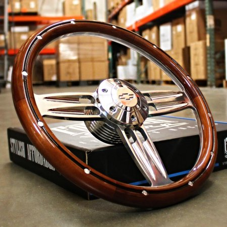 "14"" Inch Polished & Wood Steering Wheel Chevy Bowtie Horn , 6 Hole C10 Camaro"""