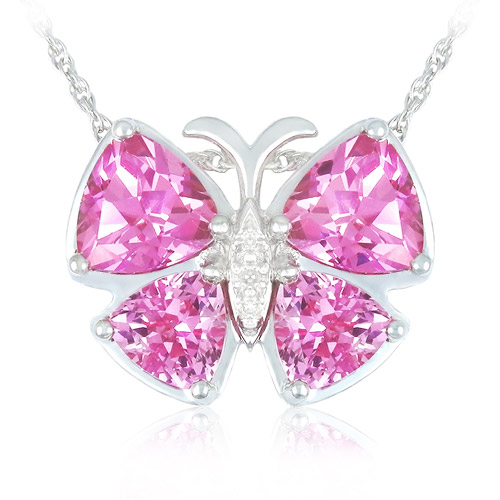 """3.36 Carat T.G.W. Lab-Created Pink Sapphire and Diamond Accents in Sterling Silver Butterfly Pendant, 18"""""""