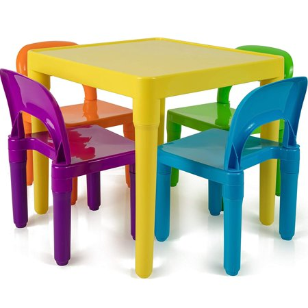 Kids Table and Chairs Set - Toddler Activity Chair Best for Toddlers Lego, Reading, Train, Art Play-Room (4 Childrens Seats with 1 Tables Sets) Little Kid Children Furniture Accessories - Plastic Desk