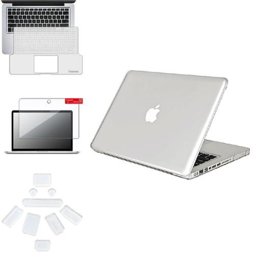 Insten Crystal Case+Clear Screen Protector+Full KB Shield+9xPlug Cup For Macbook Pro 13