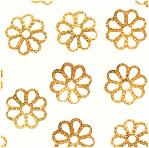 Bright Gold Plated Open Petal Flower Bead Caps 7mm (50)