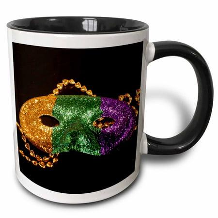 3dRose Mardi Gras - Two Tone Black Mug, - Mardi Gras Cups Personalized