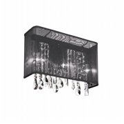 Radionic Hi Tech VA-85306W-44-115-RHT Bohemian 1 Light Crystal Scone With Black Organza Rectangular Shade