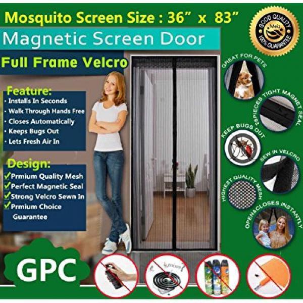 Instant Mesh Screen Door Magnetic Hands Free Bug Net Mosquito Fly Pet 36/'/'X 82/'/'