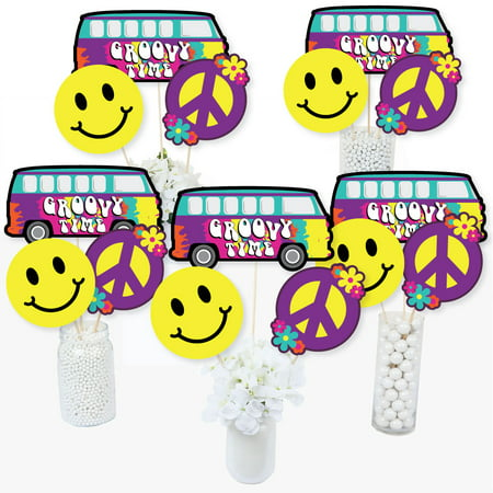 60's Hippie - 1960s Groovy Party Centerpiece Sticks - Table Toppers - Set of 15 - Hippie Centerpieces