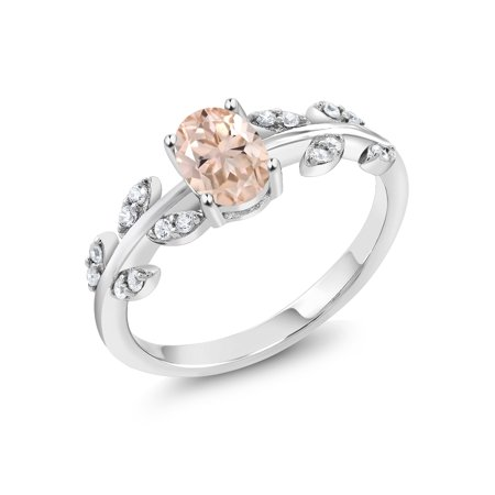 925 Sterling Silver 0.86 Ct Oval Peach Morganite Solitaire Olive Vine (Olive French Ring)