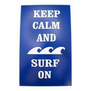 Keep Calm and Surf the Waves Wood Sign 15.75 Inch Ocean Blue Wall Plaque Decor