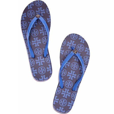 Tory Burch Flip Flops Shoes Sandals Flat Rubber NEW (7, Navy Sea New Travelr Square)](Bloch Shoes)
