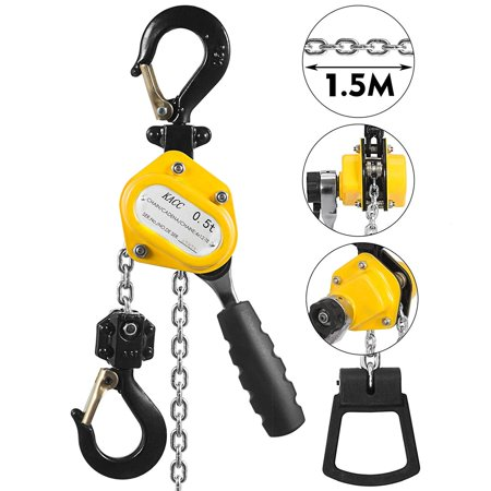 BestEquip 1/2 Ton Lever Block Chain Hoist 1.5M 5ft Chain Hoist Alloy Steel G80 Chain Ratchet Lever Hoist with Hook
