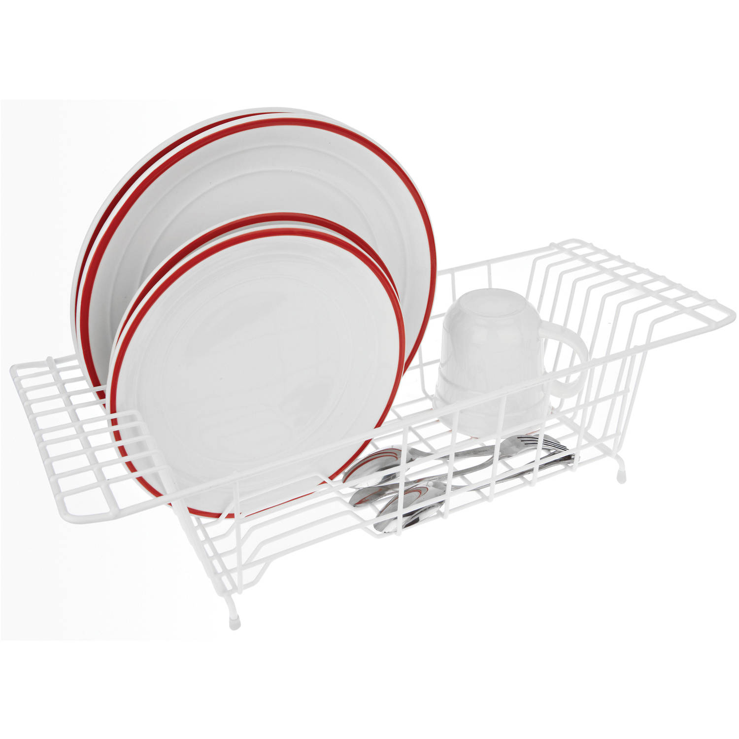 White Over-the-Sink Dish Drainer