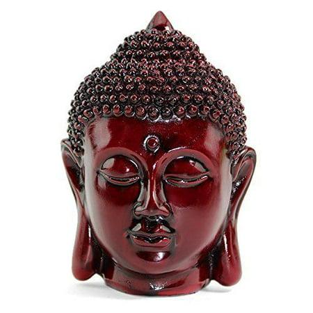 Smiling Meditating Red Buddha Shakyamuni Head Statue 5