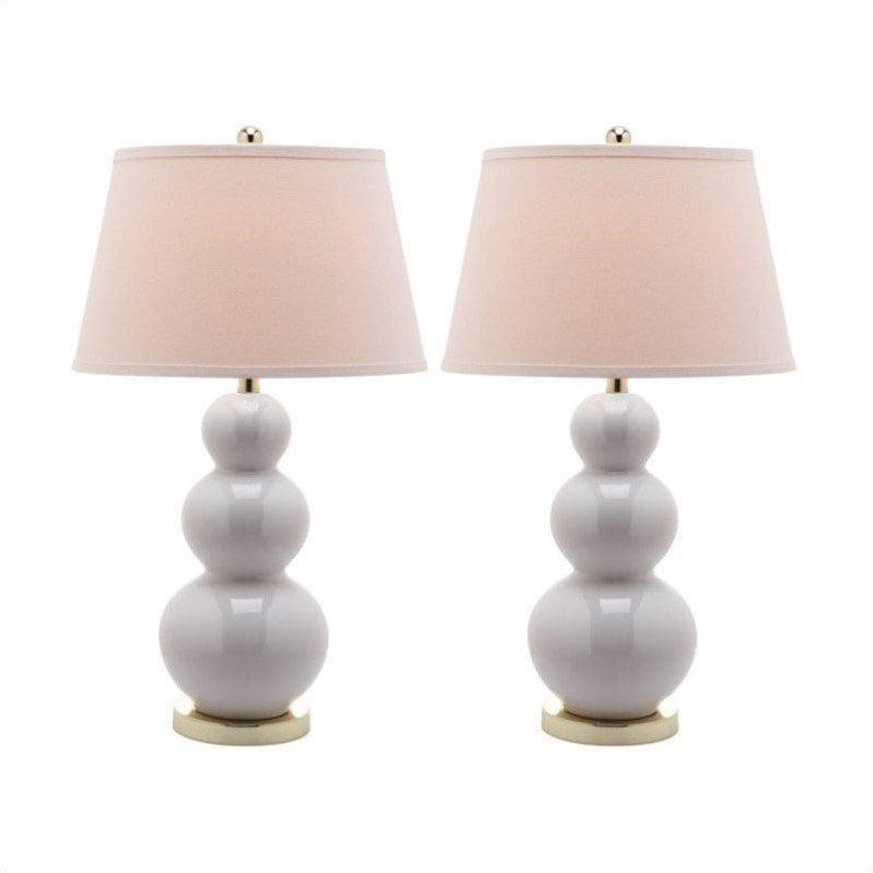 Safavieh Pamela Triple Gourd Ceramic Lamp in White (Set of 2)
