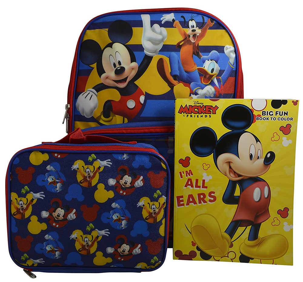 """Disney Mickey Mouse Boys' 16"""" Backpack with Window Pocket Detachable Lunch Box & Bonus Coloring Book by"""