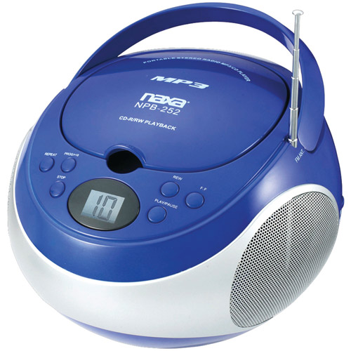 Naxa Portable CD/MP3 Player with AM/FM Stereo, Blue, NPB252