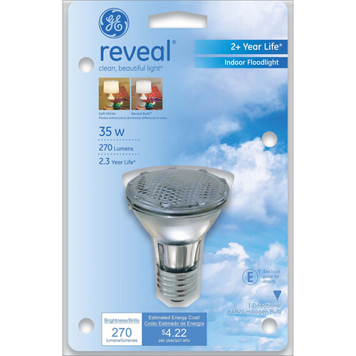 GE Reveal 35 watt PAR20 Halogen Reflector, 1 Pack