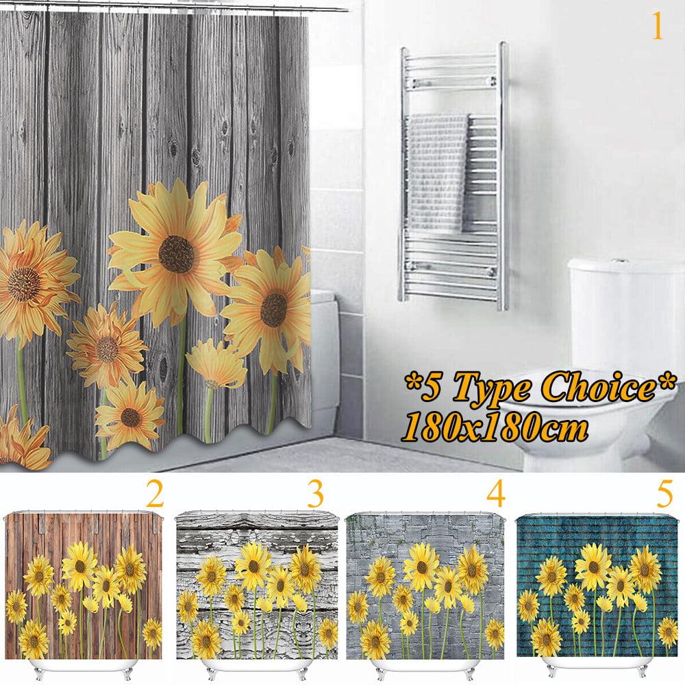 1.8m bathroom waterproof shower curtain set sunflower