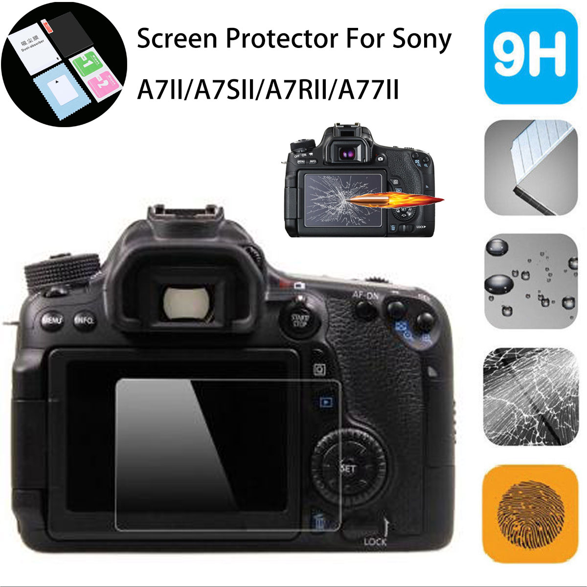 9H PRO Ultra Clear Temper Glass LCD Screen Guard Protector for Sony A7R II A7R2