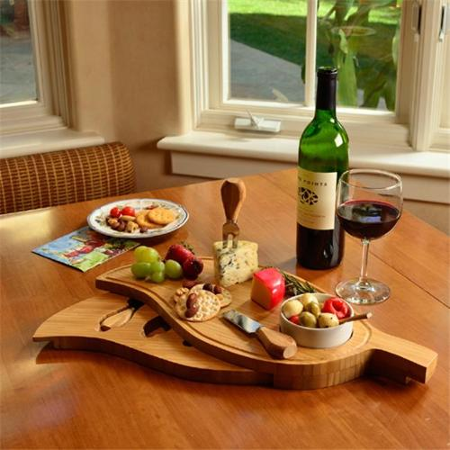 Picnic at Ascot CB25 Leaf Cheese Board set with Bowl-Bamboo