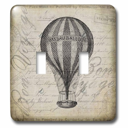 3dRose Vintage Hot Air Balloon In Brown Grey Grunge Style Double Toggl