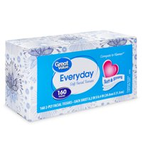 Great Value Everyday Soft 2-Ply Facial Tissue, 160 Sheets