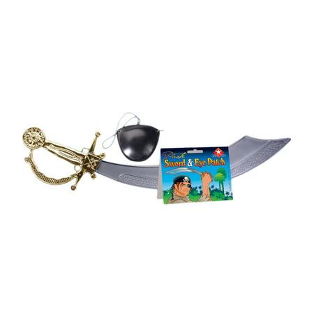 Loftus Pirate Sword w Eyepatch 2pc Accessory Kit, Gold Black Grey, 19