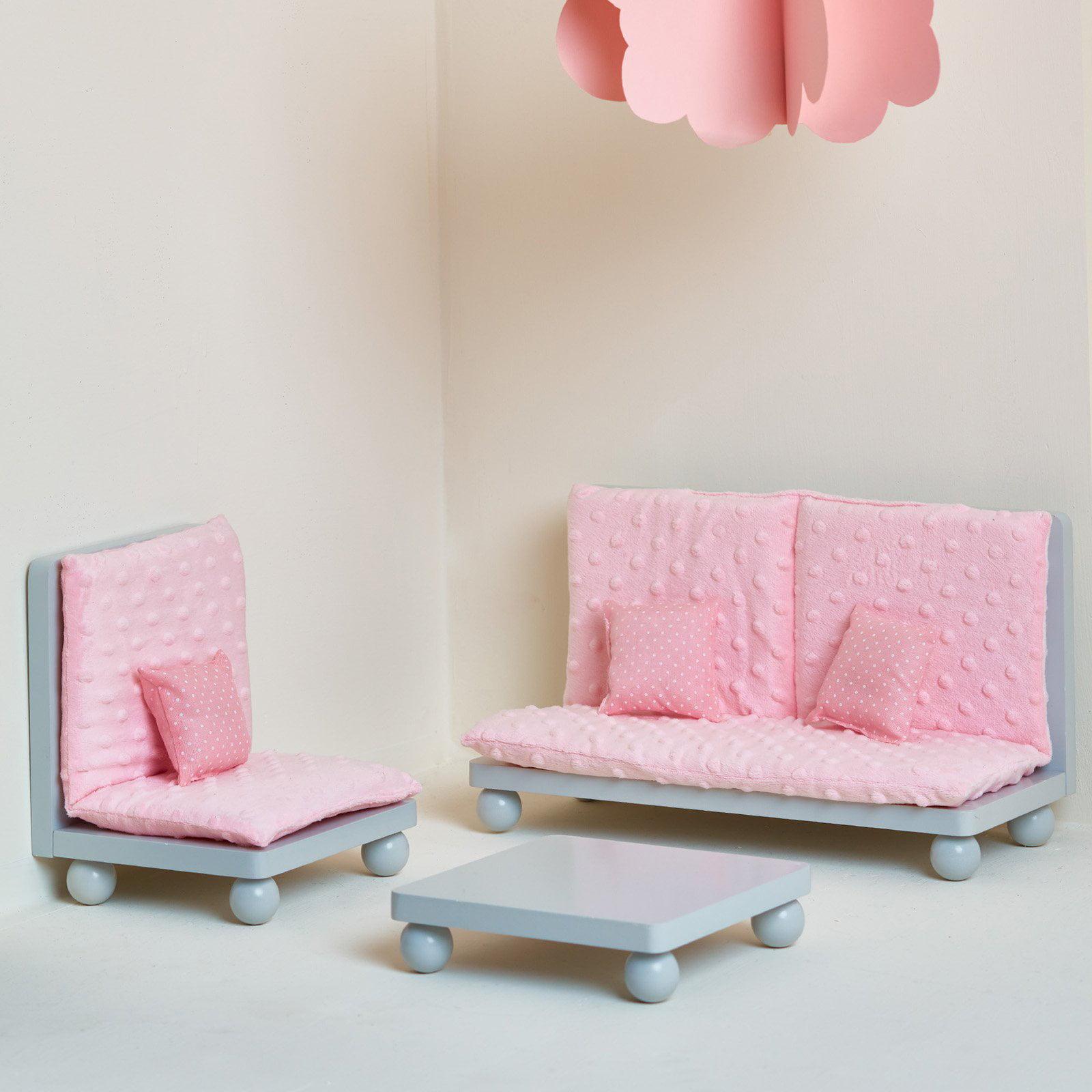 Olivia's Little World 18 inch Doll Furniture Soft Pink Lounge Set (Grey Polka Dots) by Teamson