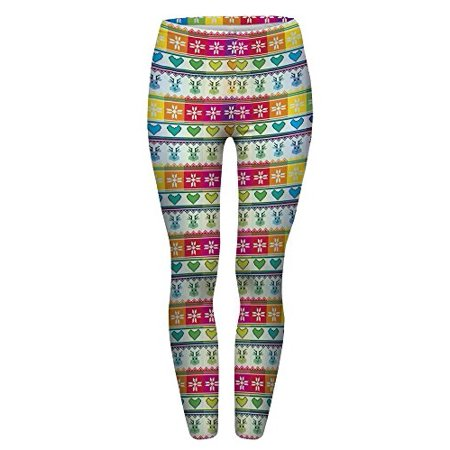 Pop Fashion Women Brightly Colored Printed Leggings Footless Tights Ankle Pants (Rainbow Holiday Print)