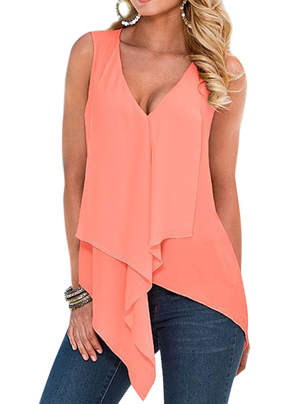 Starvnc Women Chiffon V Neck Sleeveless Front Waterfall Tank Top